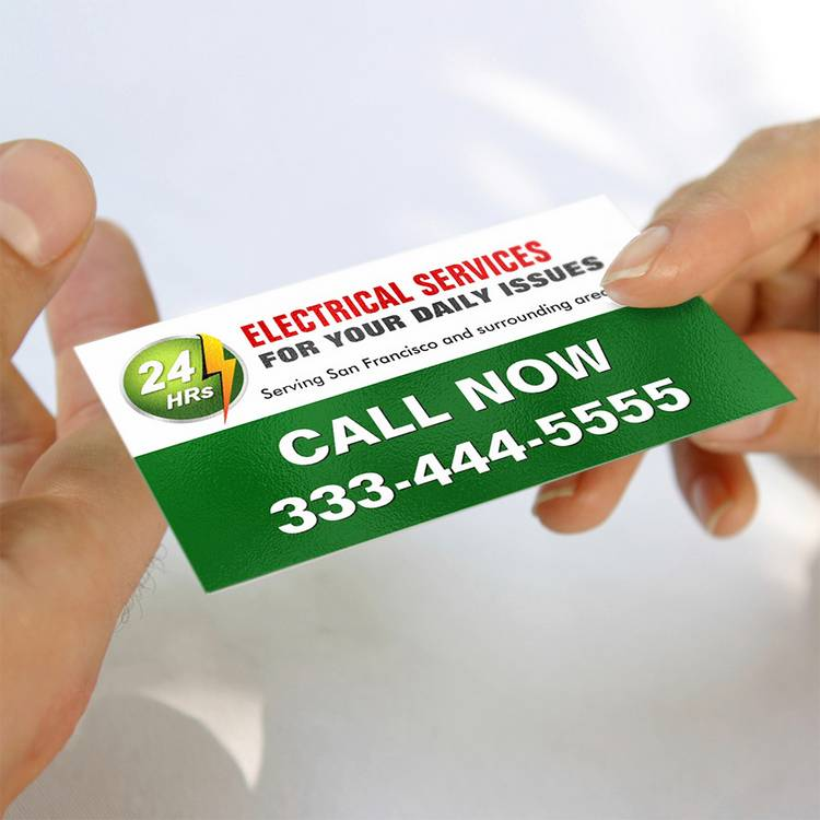24 hour electrician electrical power lighting business card templates - Electrician Business Cards