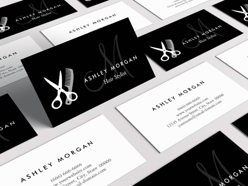 Customizable Black White Monogrammed - Hair Salon Hairstylist Business Card Template