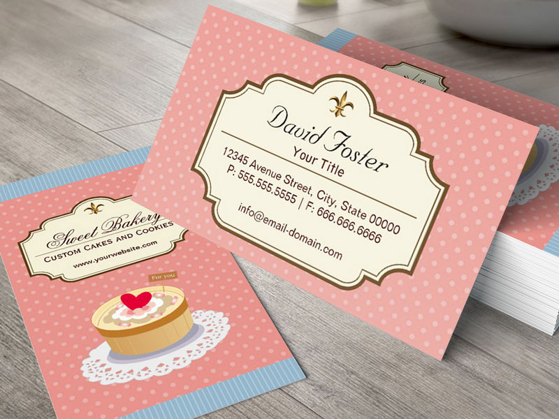 Customizable Custom Cakes and Cookies Dessert Bakery Shop Business Card Templates