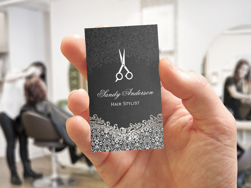 Customizable Elegant Dark Silver Damask - Hair Stylist Business Card Template