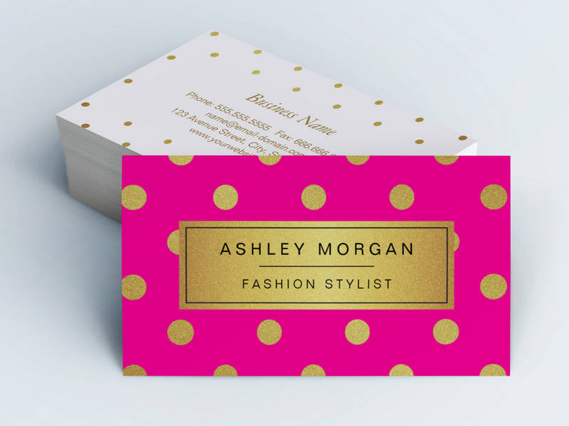 Customizable Gold Glitter Polka Dots Stylish Beauty Pink Business Card Templates