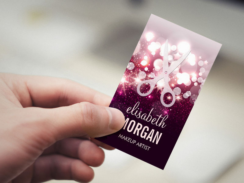 Customizable Modern Hair Stylist - Pink Glitter Sparkle Business Card Templates