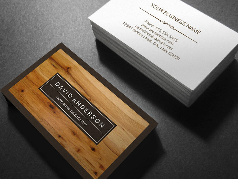Customizable Professional Modern Wood Grain Look Business Cards