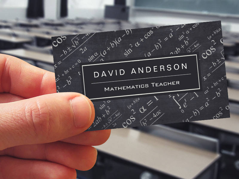 Chalkboard Business Card Insssrenterprisesco - Teacher business card template