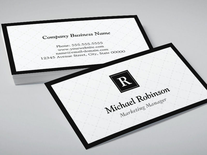 simple elegant monogram easy customization double sided standard business cards pack of 100. Black Bedroom Furniture Sets. Home Design Ideas