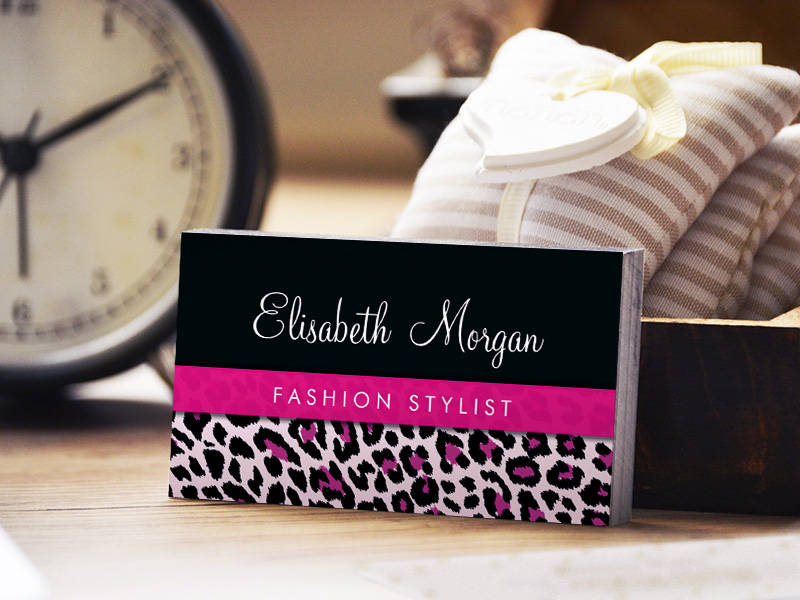 Customizable Stylish Pink Leopard Print Girly Ribbon Networking Business Card Template