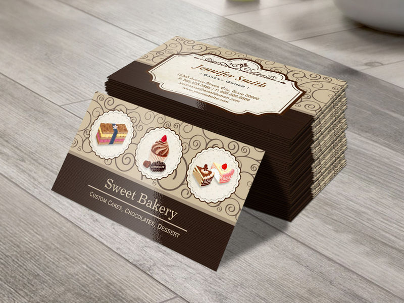 Customizable Sweet Bakery Store Custom Cakes Chocolates Dessert Business Card