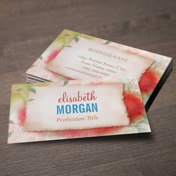 Customizable Artistry Watercolor Floral Painting Business Card Templates