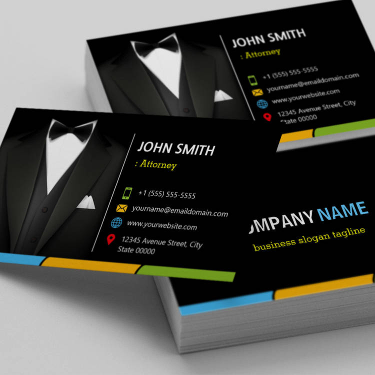 Customizable Attorney Lawyer Consultant Tuxedo Businessman Suit Business Card Templates