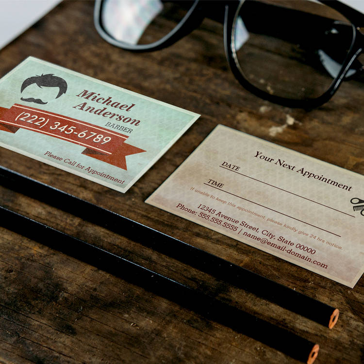 Customizable Barber Shop Salon  - Vintage Appointment Card Business Card