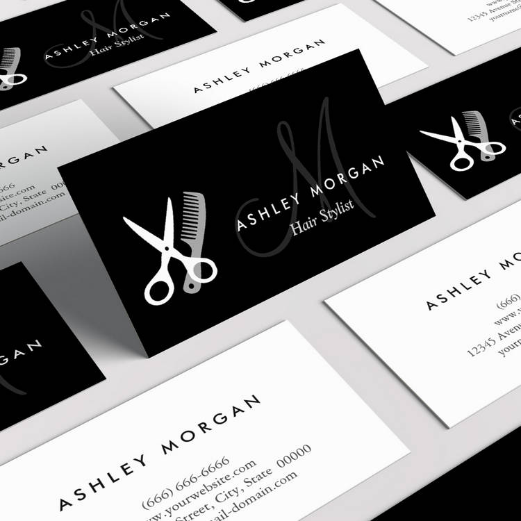 Black white monogrammed hair salon hairstylist business card template colourmoves