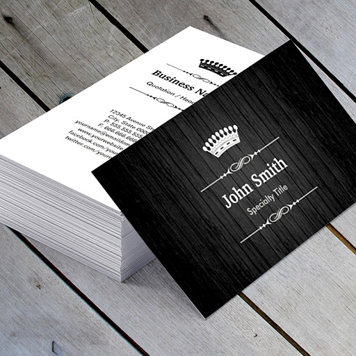 Customizable Black Wood Grain Royal Crown Double Sided Business Card Template