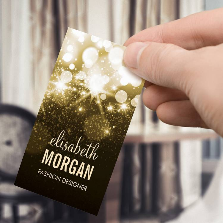 Customizable Bright Gold Glitter Sparkle Bokeh Business Card