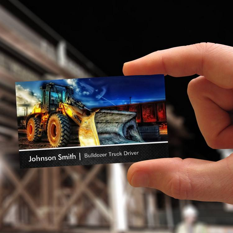 Customizable Bulldozer Excavator - Construction Truck Driver Business Cards