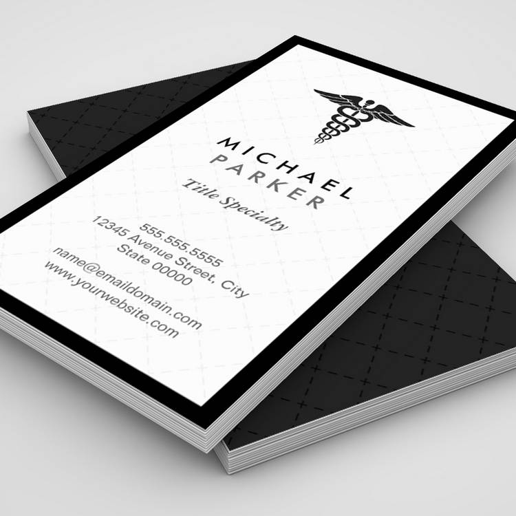 Premium black and white double sided personal business card templates customizable caduceus medical symbol retro black and white business cards reheart Gallery