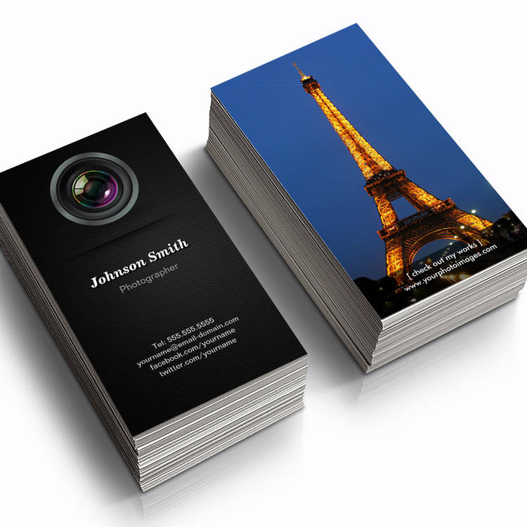 Customizable Camera Lens - Show Your Best Photo on the Back Business Card