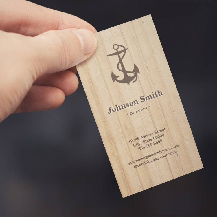 Customizable Captain - Nautical Anchor Wood Business Card