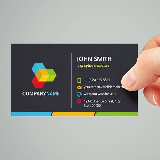 Customizable Changeable Logo - Stylish Dark Colorful Corporate Business Card