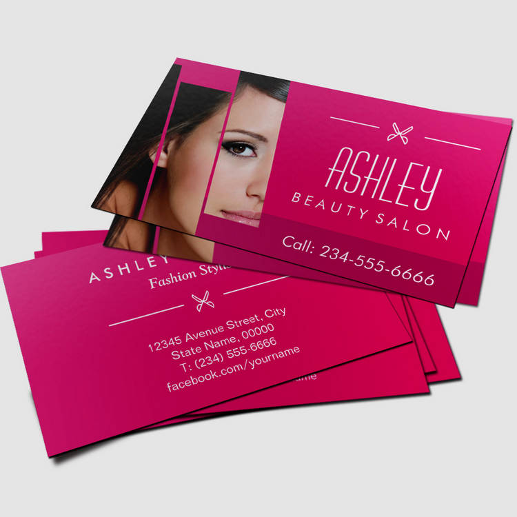 Charming Hot Pink Trendy Beauty Hair Salon Business Card