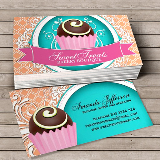 Customizable Chic and Elegant Cake Bites Business Cards