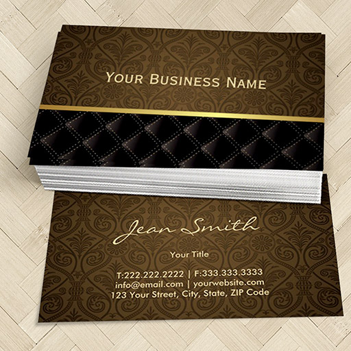 Customizable Classy Brown Damask Business Card