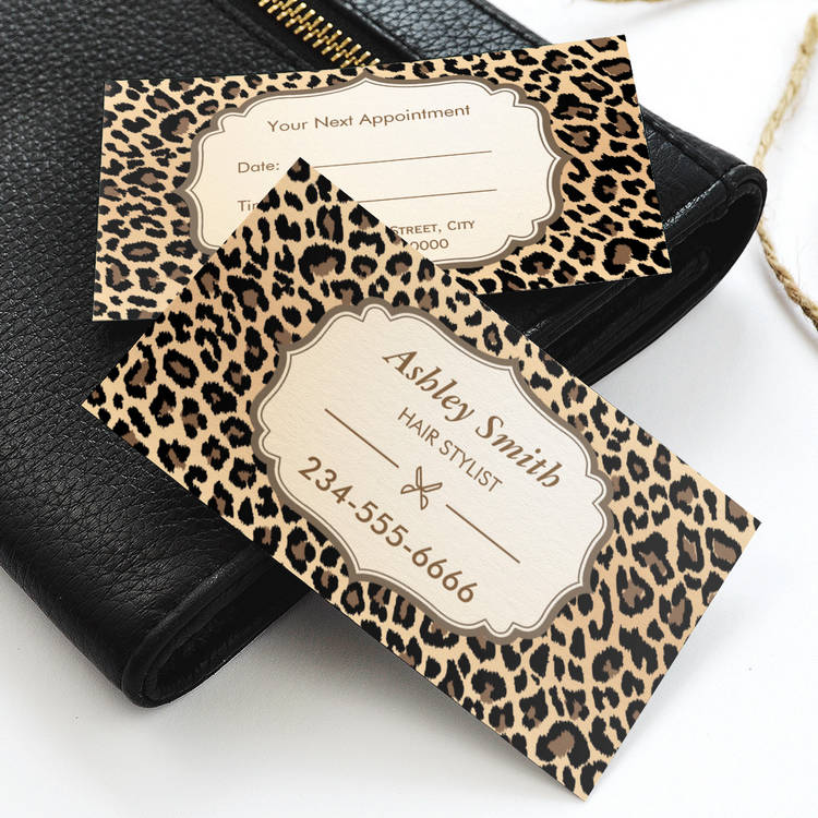 300 creative and inspiring business card designs page8 customizable classy leopard print hair stylist appointment card business card fbccfo Images