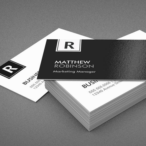 Classy Monogram Modern Black And White Business Card Template - Custom business card template