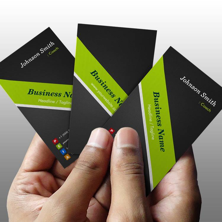 Customizable Coach - Premium Black and Green Business Card Template