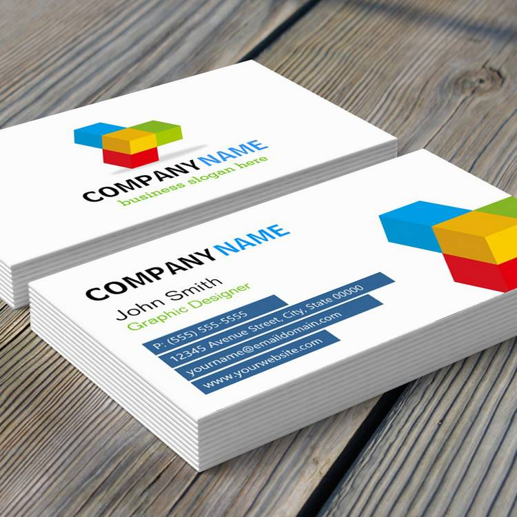 Customizable Colorful 3D Cube Logo - Creative and Unique Business Card Templates
