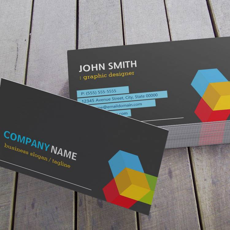 Customizable Colorful 3D Cube Logo - Creative Modern Dark Business Card Template