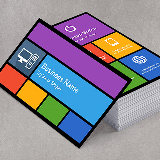 Customizable Computer Retailer Repair - Colorful Tiles Creative Business Cards