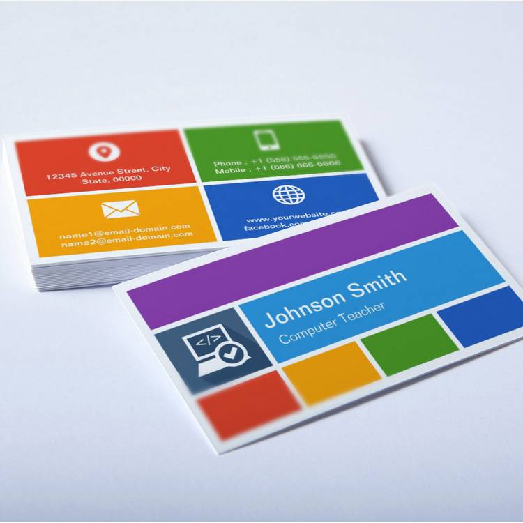 Computer teacher creative modern metro style business card wajeb Image collections