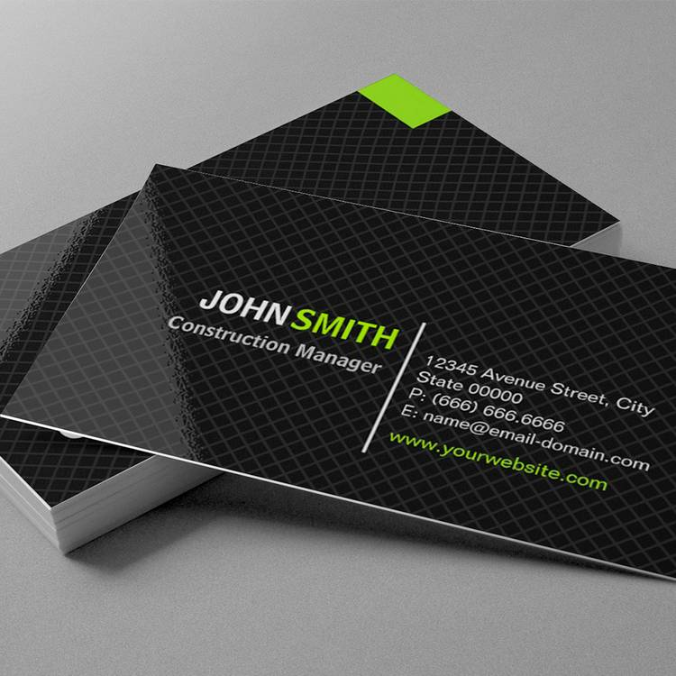 Customizable Construction Manager - Modern Twill Grid Business Card