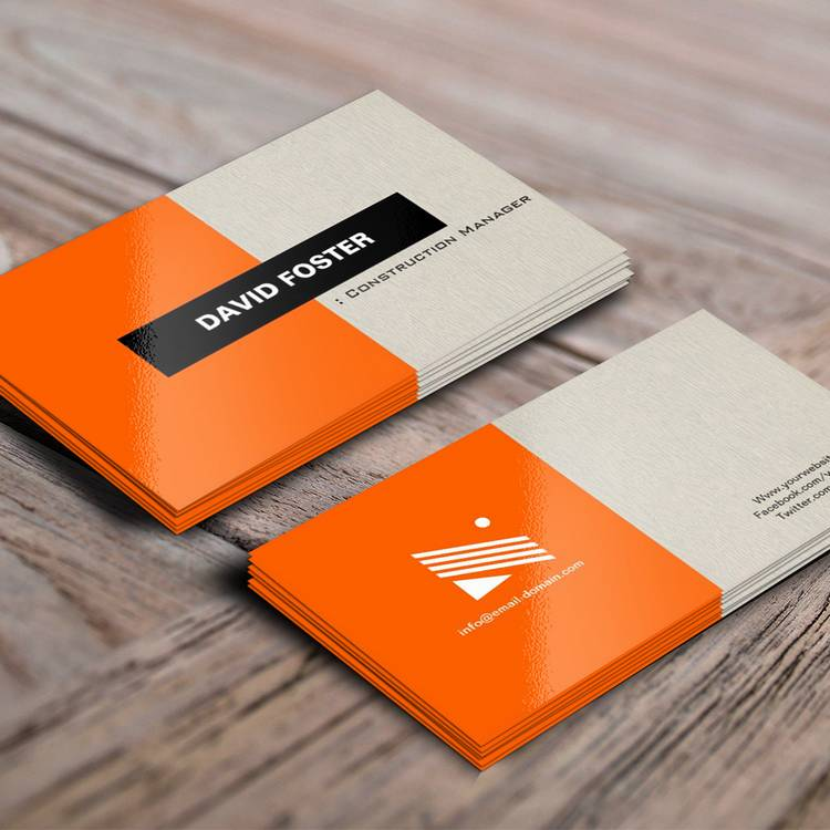 Construction Manager Simple Elegant Stylish Business Card Template