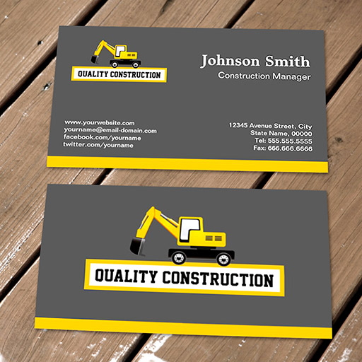 Construction Manager Yellow Excavator Business Card Templates - Construction business card template