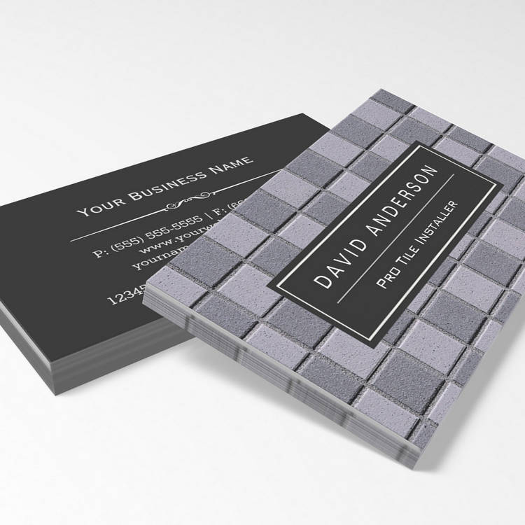 Customizable Construction Tile Installer Stylish Easy Customize Business Cards