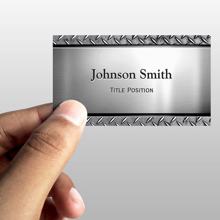 Customizable Cool Dark Stainless Steel with Diamond Metal Look Business Card Template