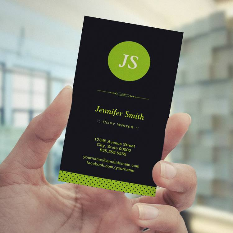 Customizable Copy Writer - Stylish Apple Green Business Card Template