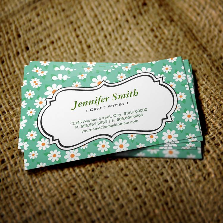 Customizable Craft Artist - Elegant Green Daisy Business Cards