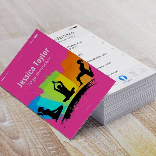 Customizable Creative Colorful YOGA Pilates Instructor Business Card