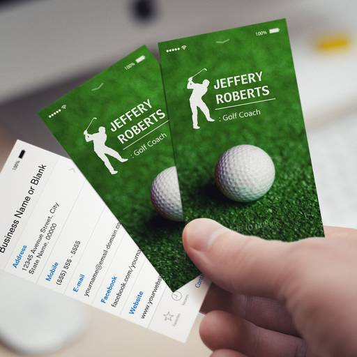 Customizable Creative Golfer Golf Coach Business Cards