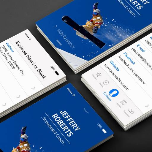 Customizable Creative Snowboard Coach Instructor Business Card Templates