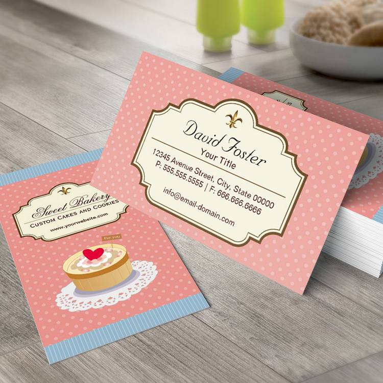 custom cakes and cookies dessert bakery shop business card templates