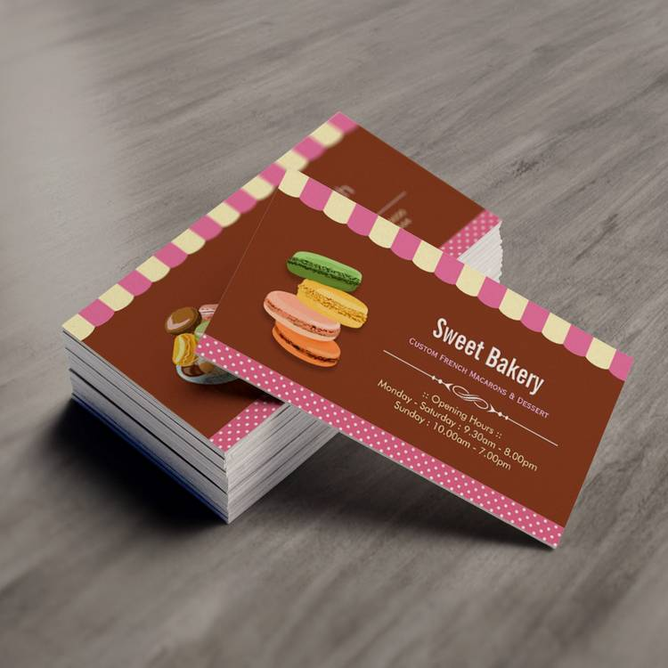 Custom French Parisian Macarons Macaroon Store Business Cards