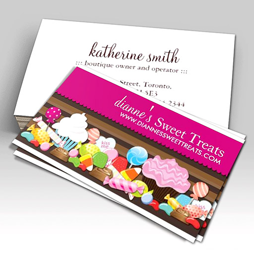 Customizable Cute and Sweet Confection Business Cards