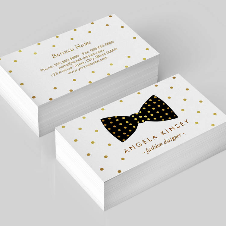 Customizable Cute Gold Polka Dots Ribbon Bow Business Card Template