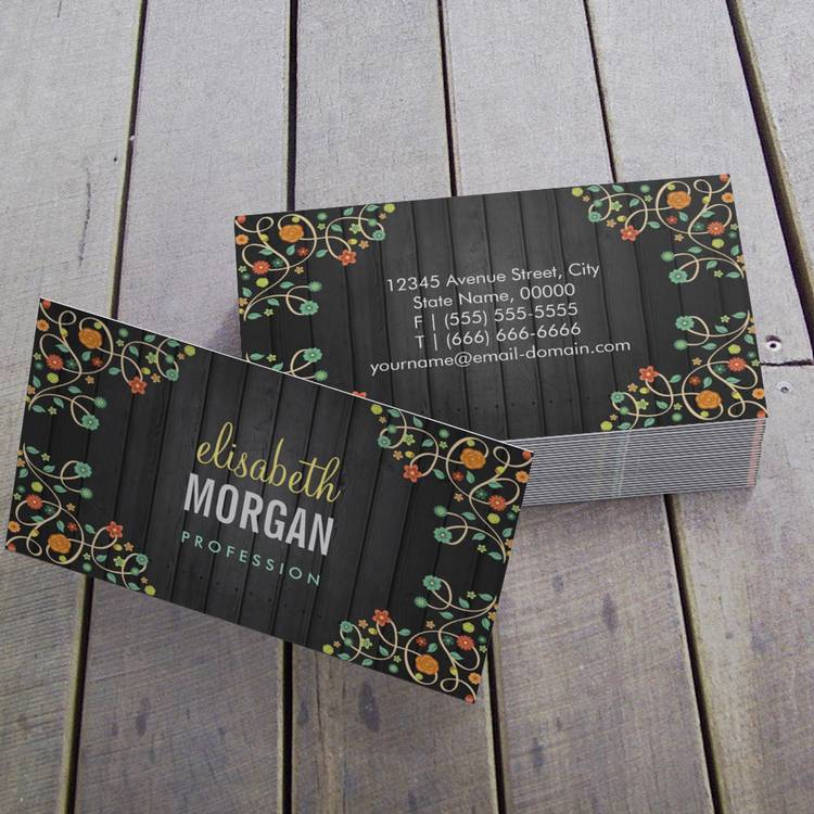 Customizable Cute Swirl Flowers on Dark Wood Business Cards