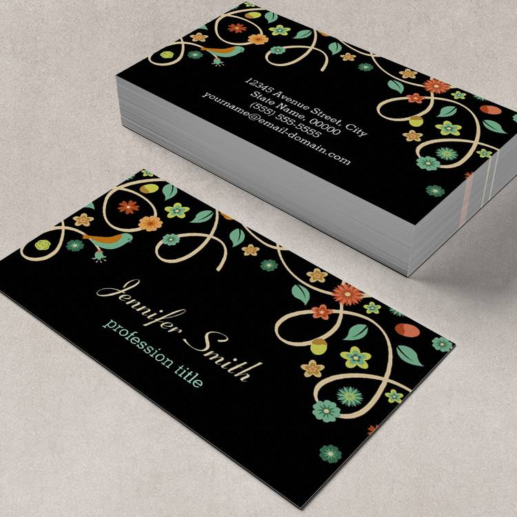 Customizable Dark Elegant Swirl Floral Tree and Bird Business Cards