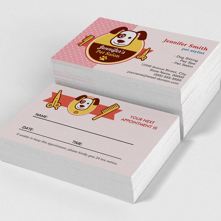 Dog Pet Spa Salon - Appointment Card Business Card Template