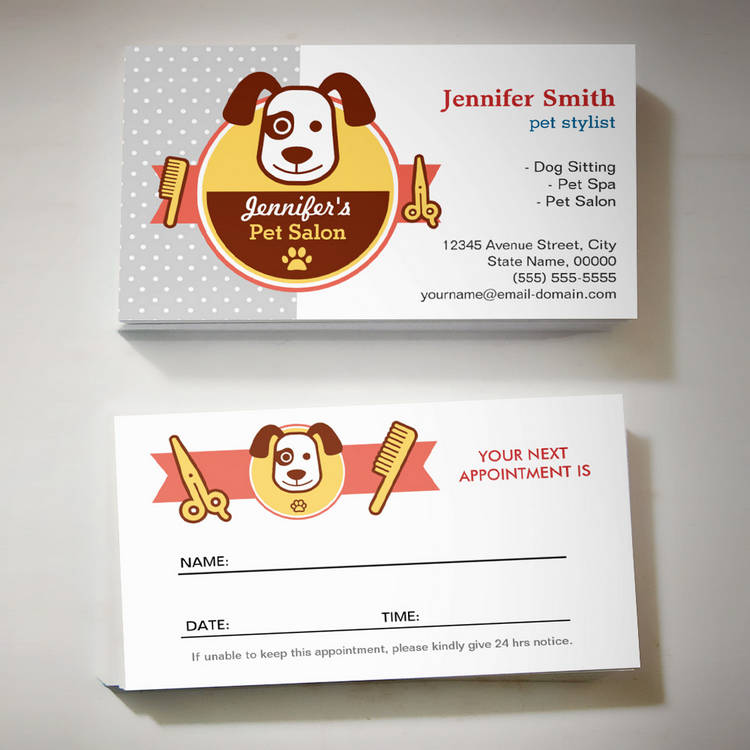 Customizable Dog Spa Salon - Appointment Card Business Card Template